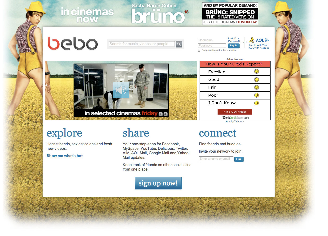 eagrapho » Bruno The Movie – Bebo Homepage Takeover