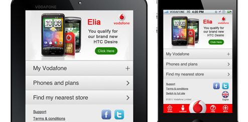 Vodafone UK – Mobile Site UI Design